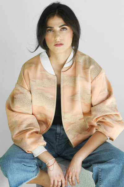 Chiara Bomber in Buff Peach Cloud