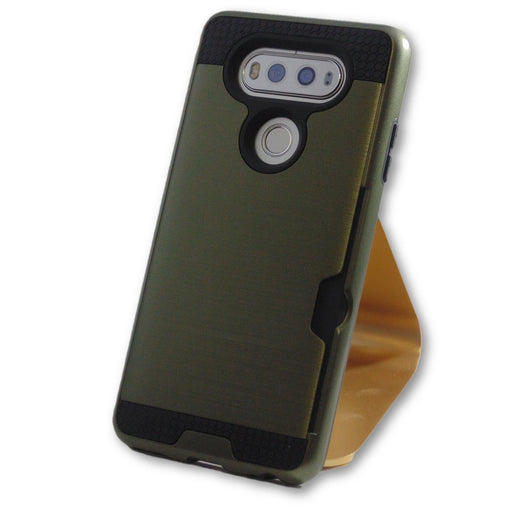 LG V20 Olive/Army Green Hybrid Tough Armor Card Slot Case-FlagshipsGear