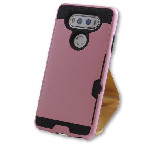 LG V20 Pink Hybrid Tough Armor Card Slot Case-FlagshipsGear