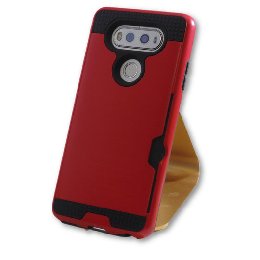 LG V20 Red Hybrid Tough Armor Card Slot Case-FlagshipsGear