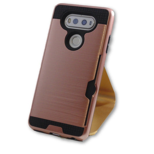 LG V20 Rose Gold Hybrid Tough Armor Card Slot Case-FlagshipsGear