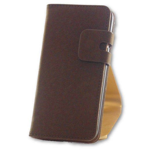 Mobile Phone Case - IPhone 7 Brown Suede Leather Wallet Folio Case