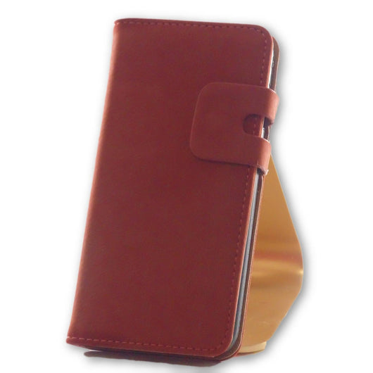 Mobile Phone Case - IPhone 7 Coral Brown Suede Leather Wallet Folio Case