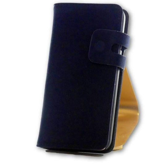 Mobile Phone Case - IPhone 7 Navy Blue Suede Leather Wallet Folio Flip Case