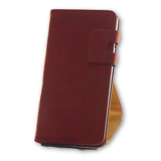 iPhone 8 Plus Coral Brown Suede Leather Wallet Folio Flip Case-FlagshipsGear