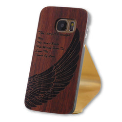 Samsung Galaxy S7 Angel Wings Engraved Wood Case-FlagshipsGear