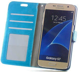 Mobile Phone Case - Samsung Galaxy S7 Blue Leather Wallet Folio Flip Case