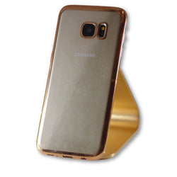 Mobile Phone Case - Samsung Galaxy S7 Edge Gold Clear Silicone Case