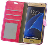 Mobile Phone Case - Samsung Galaxy S7 Edge Pink Leather Wallet Folio Flip Case