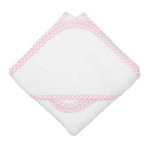 Pink Check Hooded Towel & Wash Cloth Set