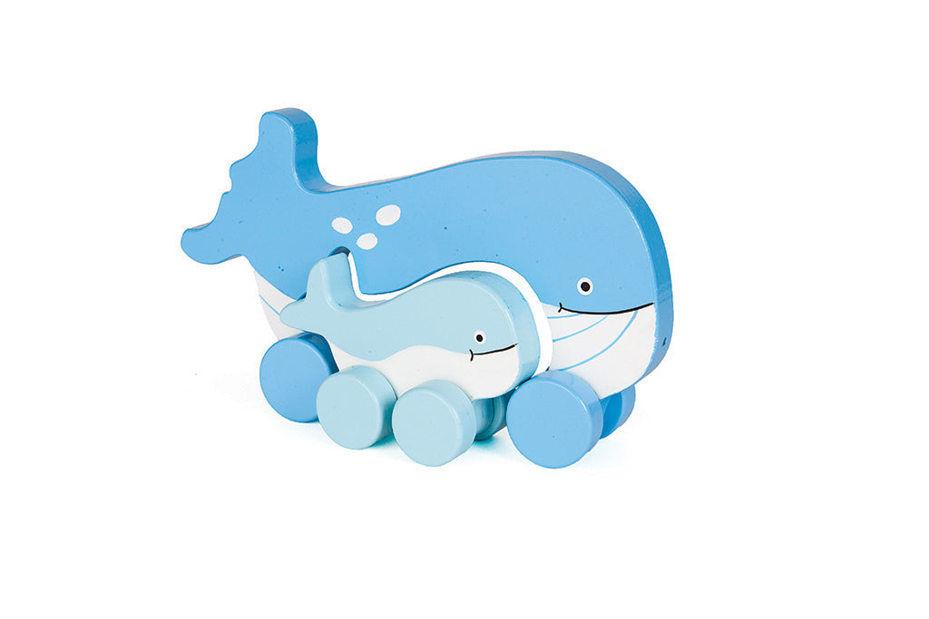 Whale Mommy & Baby Push Toy