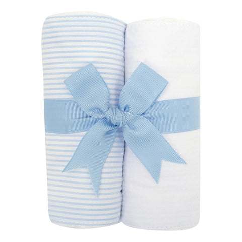 Blue Seersucker Stripe Burp Cloth Set