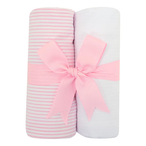 Pink Seersucker Stripe Burp Cloth Set