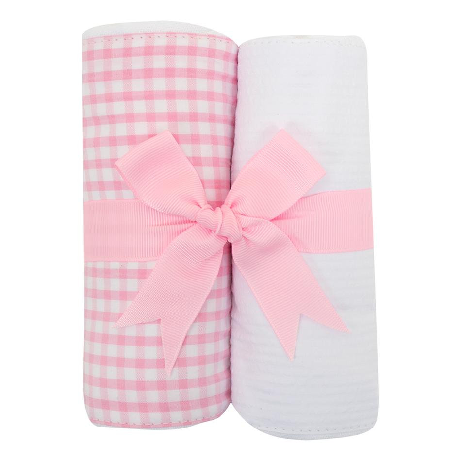 Pink Check Burp Cloth Set
