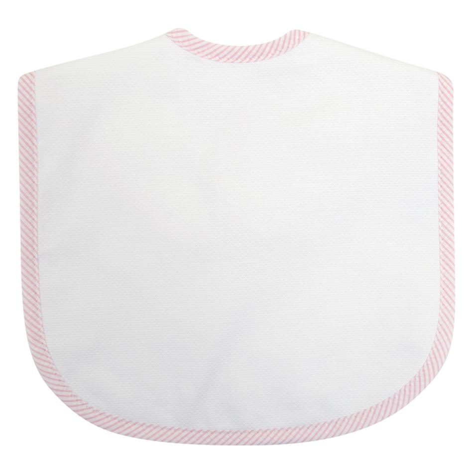 Pink Seersucker Stripe Toddler Bib