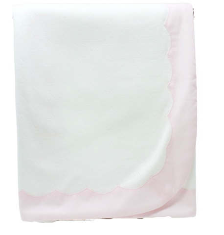 Little Hearts Scallop Blanket: Pink