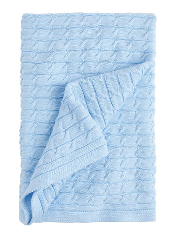 Cable Knit Blanket: Blue