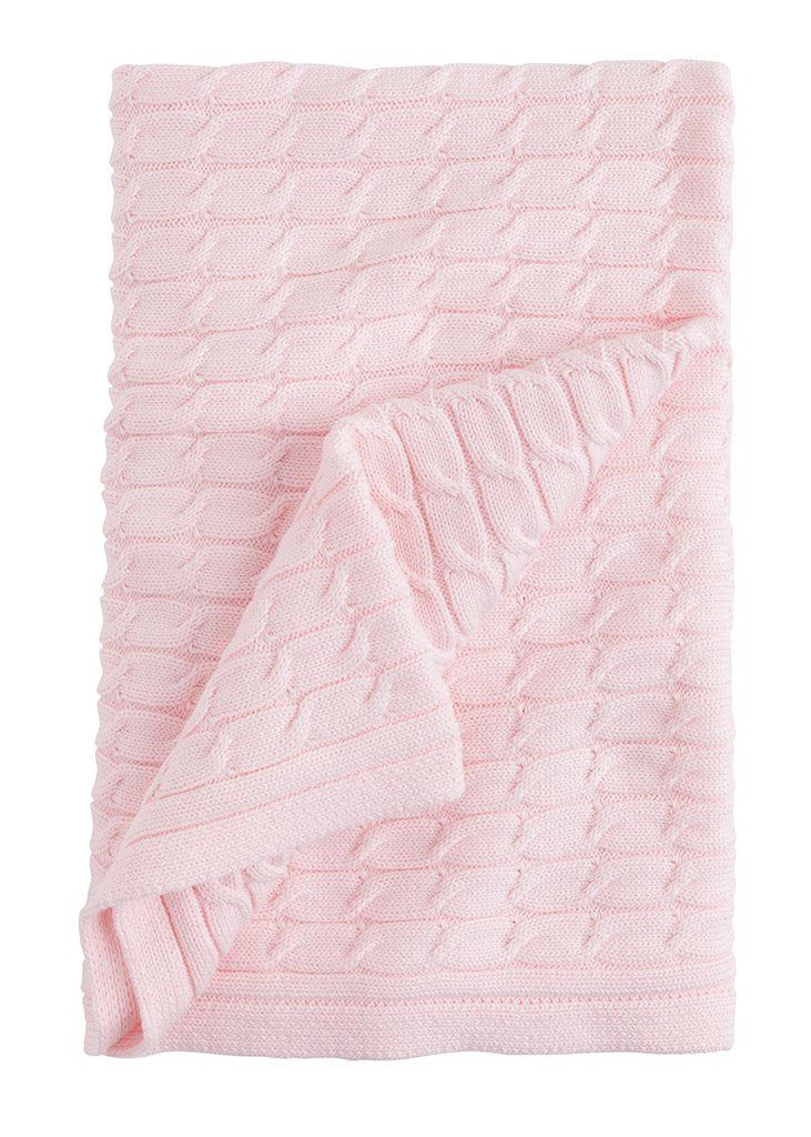 Cable Knit Blanket: Pink