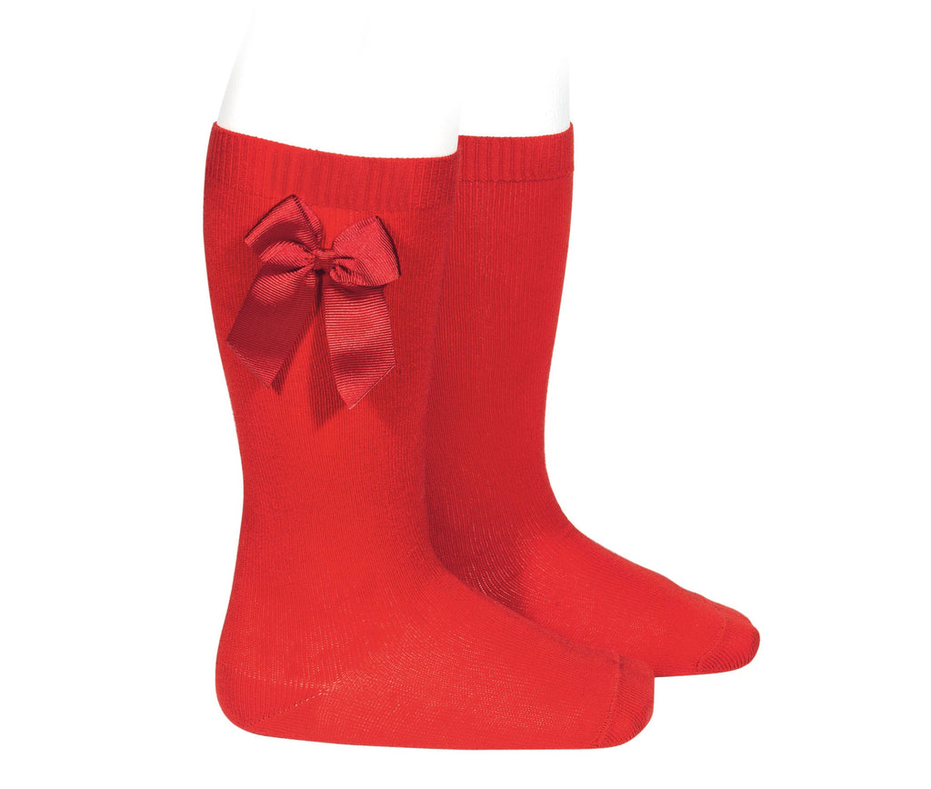 Grosgrain Bow Knee Socks - Cherry Red