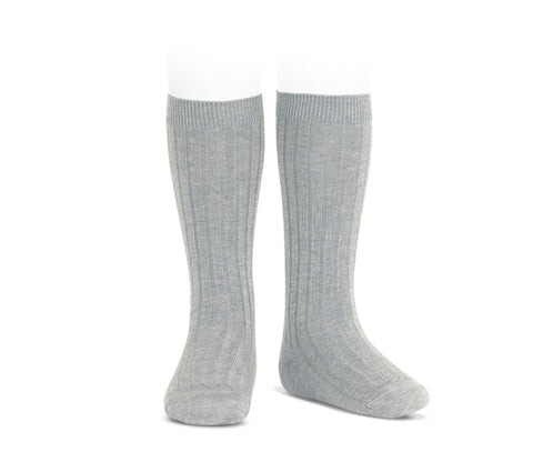 Ribbed Knee Socks - Aluminum