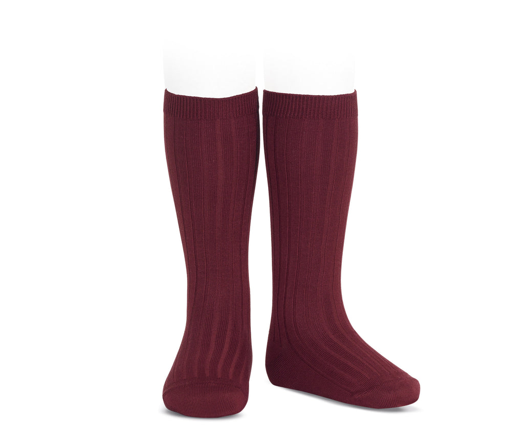 Ribbed Knee Socks - Berry