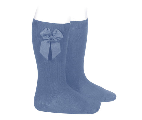 Grosgrain Bow Knee Socks - French Blue
