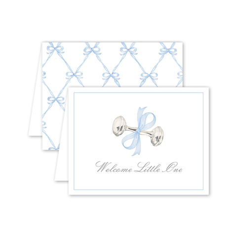 Rattle and Bow in Blue Card by Shanna Masters