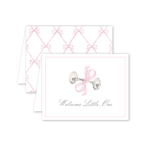 Rattle and Bow in Pink Card by Shanna Masters