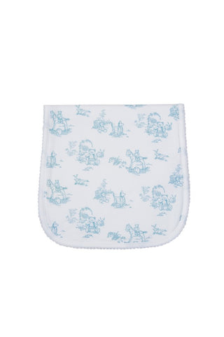 Toile Baby Burp Cloth: Blue Teddy Bears