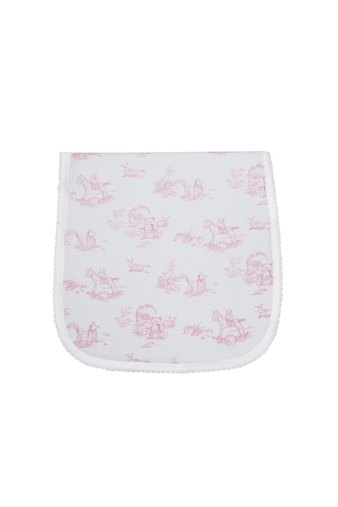 Toile Baby Burp Cloth: Pink Teddy Bears