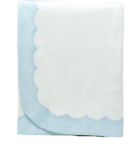 Little Hearts Scallop Blanket: Blue