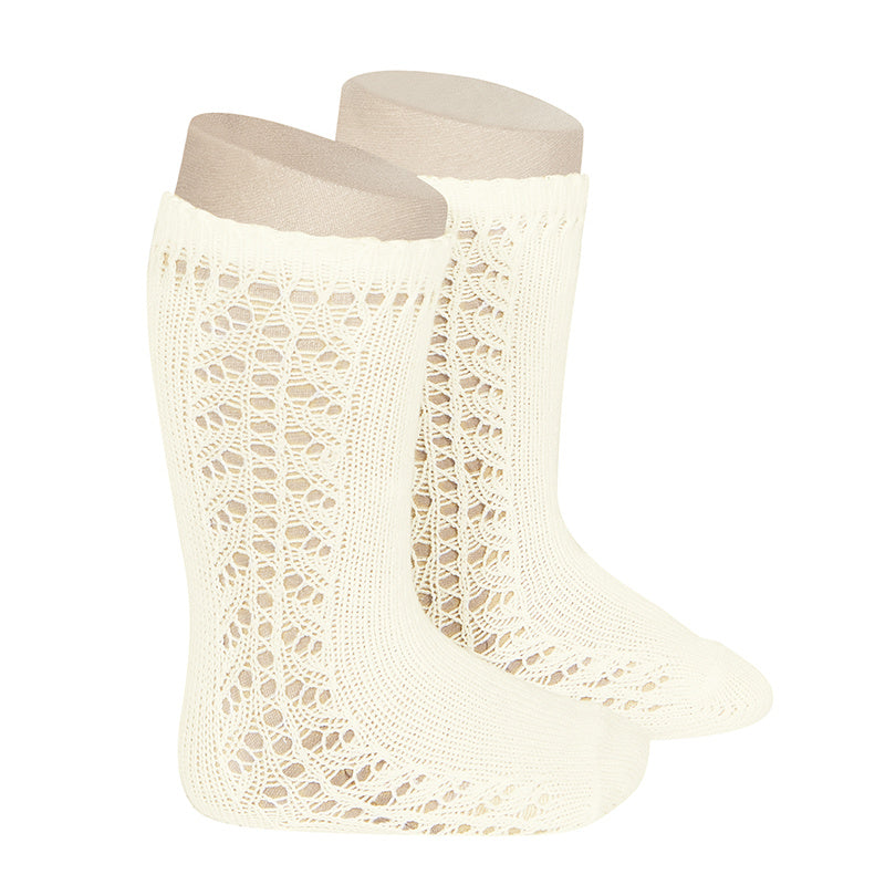 Side Openwork Knee Socks - Cream