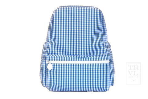 On The Go Backpack: Royal Blue Gingham