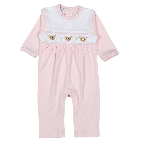 Teddy Bears Hand Smocked Pima Playsuit: Pink 3-6m,12-18m
