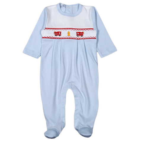Fire Engine Hand Smocked Pima Footie: NB,0-3m