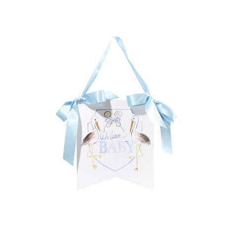 """Welcome Baby"" Stork Hanger: Blue"