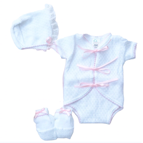White & Pink Ribbon Onesie