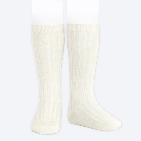 Ribbed Knee Socks - Cream