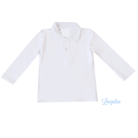 White Long Sleeve Polo