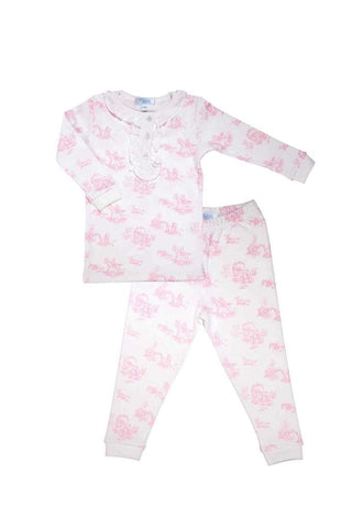 Toile Pajama Set: Pink Teddy Bears (12-18m,2t)
