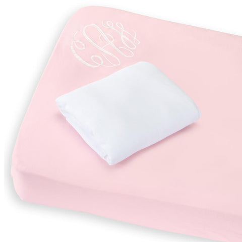 Bliss Crib Sheet Set: Pink/White