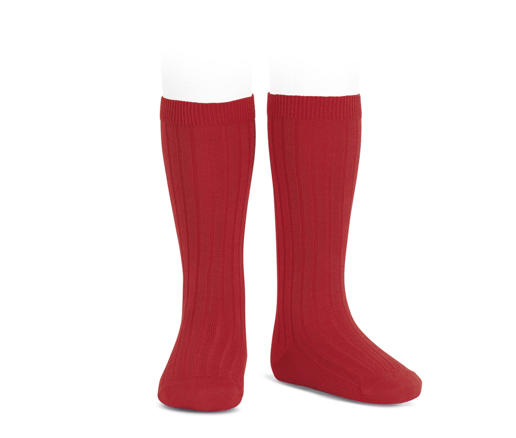 Ribbed Knee Socks - Red
