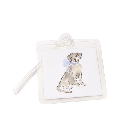 Dog with Blue Bow Bag Tag