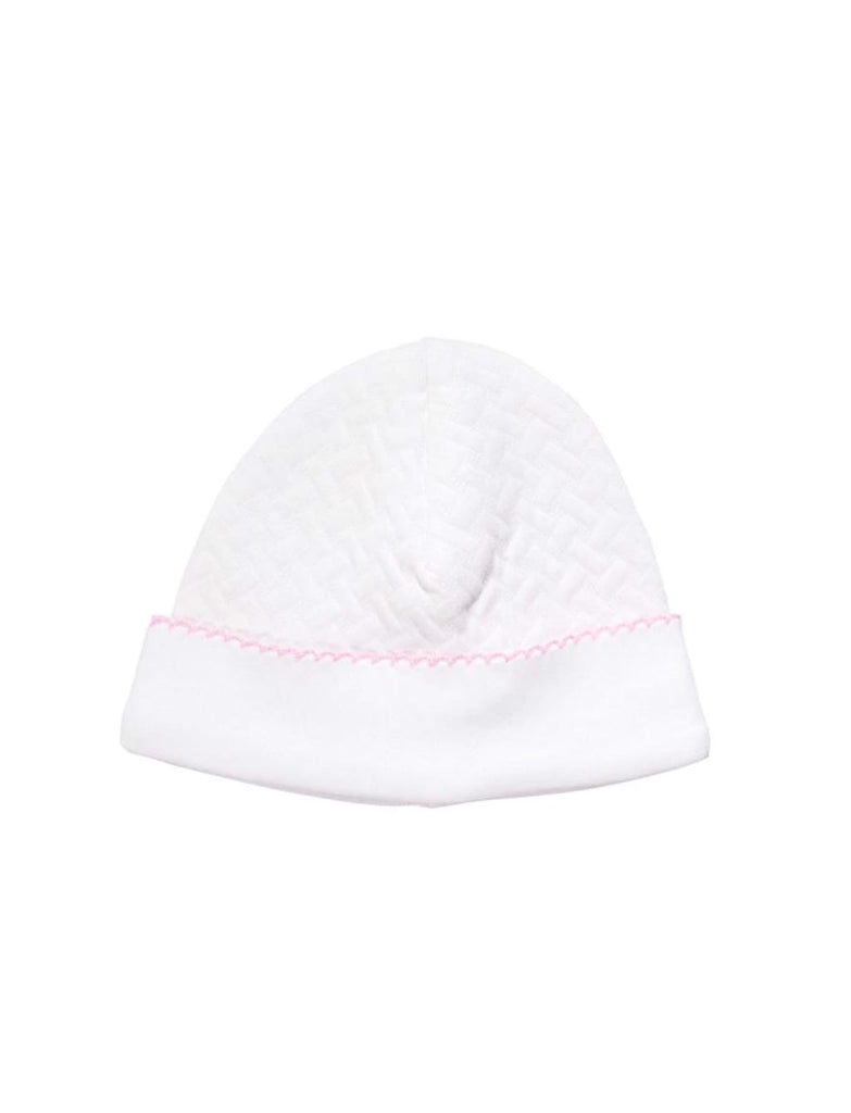 Quilted Baby Hat: White/Pink