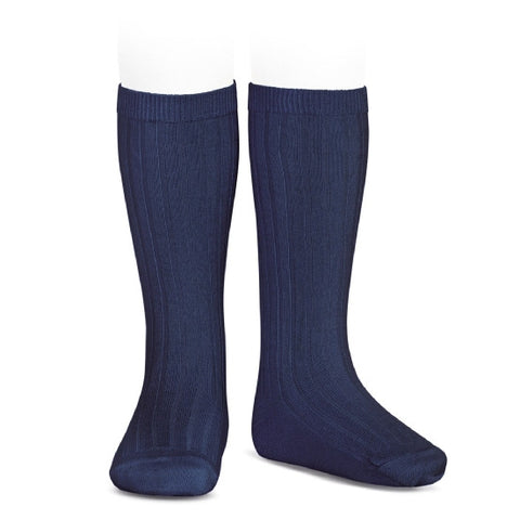 Ribbed Knee Socks - Navy