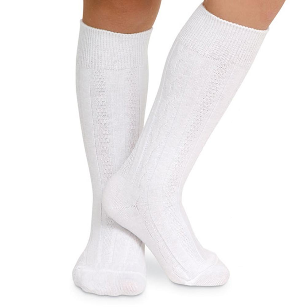 White Cable Knit Knee Socks