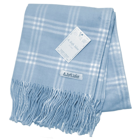 Blanket - Window Pane Check - Blue/White