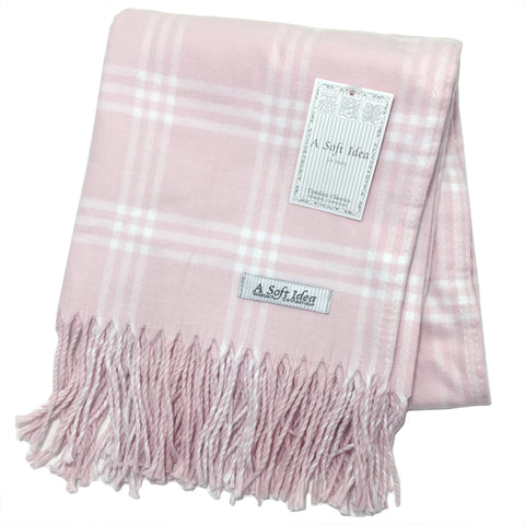 Blanket - Window Pane Check - Pink/White