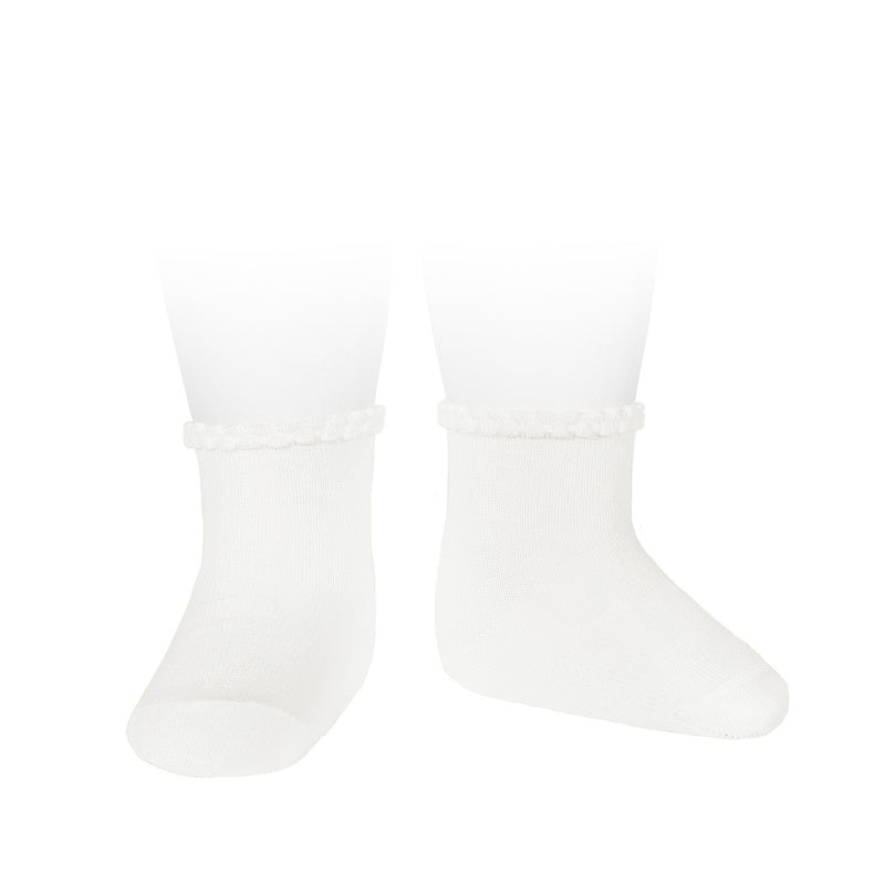 Purl Cuff Socks - WHITE