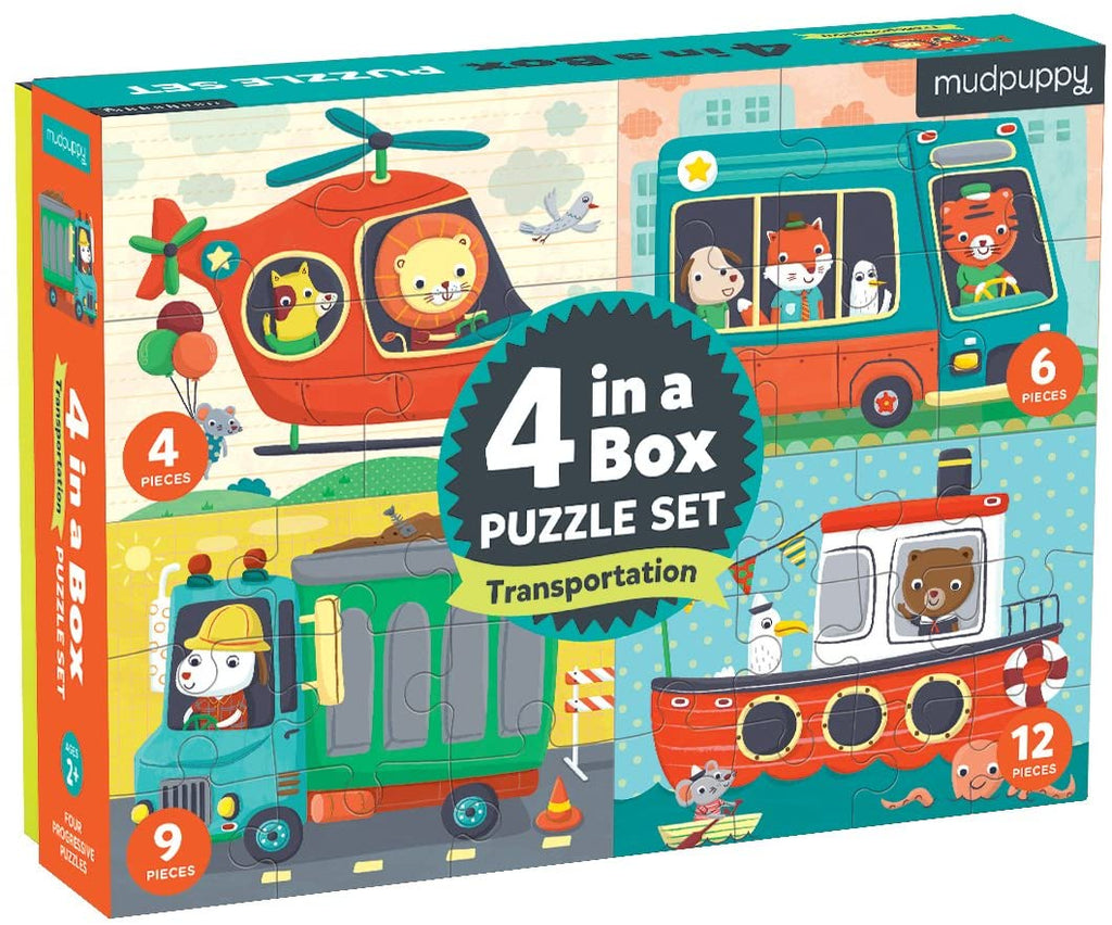 Transportation 4-in-a-box Puzzle Set